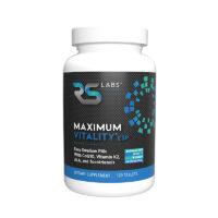 5-star award winning RS Labs Maximum Vitality ESP multivitamin black label bottle featuring CoQ10, vitamin K2, ALA, tocotrienols, and methyl folate